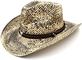 AiHua Huang Women Men Straw Western Cowboy Hat Handmade Weave Lady Dad Sombrero Hombre Cowgirl Jazz