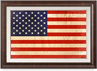DECORARTS - American Flag. Giclee Print& Brown Framed Art for Wall Decor. Total with Framed Size Size: 27x19