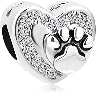 Stainless Steel Dog Mom Charm Pet Paw Print Beads for Bracelets