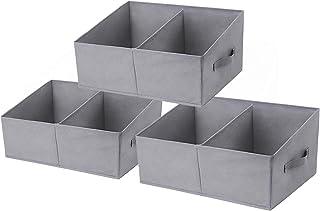 DIMJ Lot de 3 boîtes de rangement avec compartiment, panier de rangement pliable avec poignée renforcée, en tissu trapézoï...