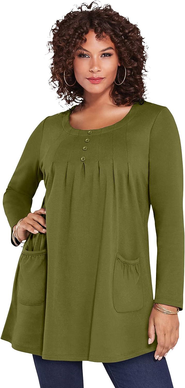 Roaman's Women's Plus Size Long-Sleeve Two-Pocket Soft Knit Tunic Shirt