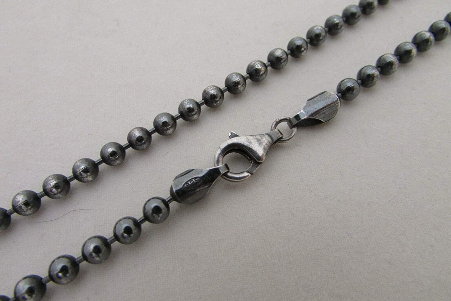 Sterling Time Kansas City Mall sale Silver Black Oxidized Ball Chain 4mm Necklace