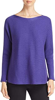 Womens Silk Ribbed Pullover Sweater