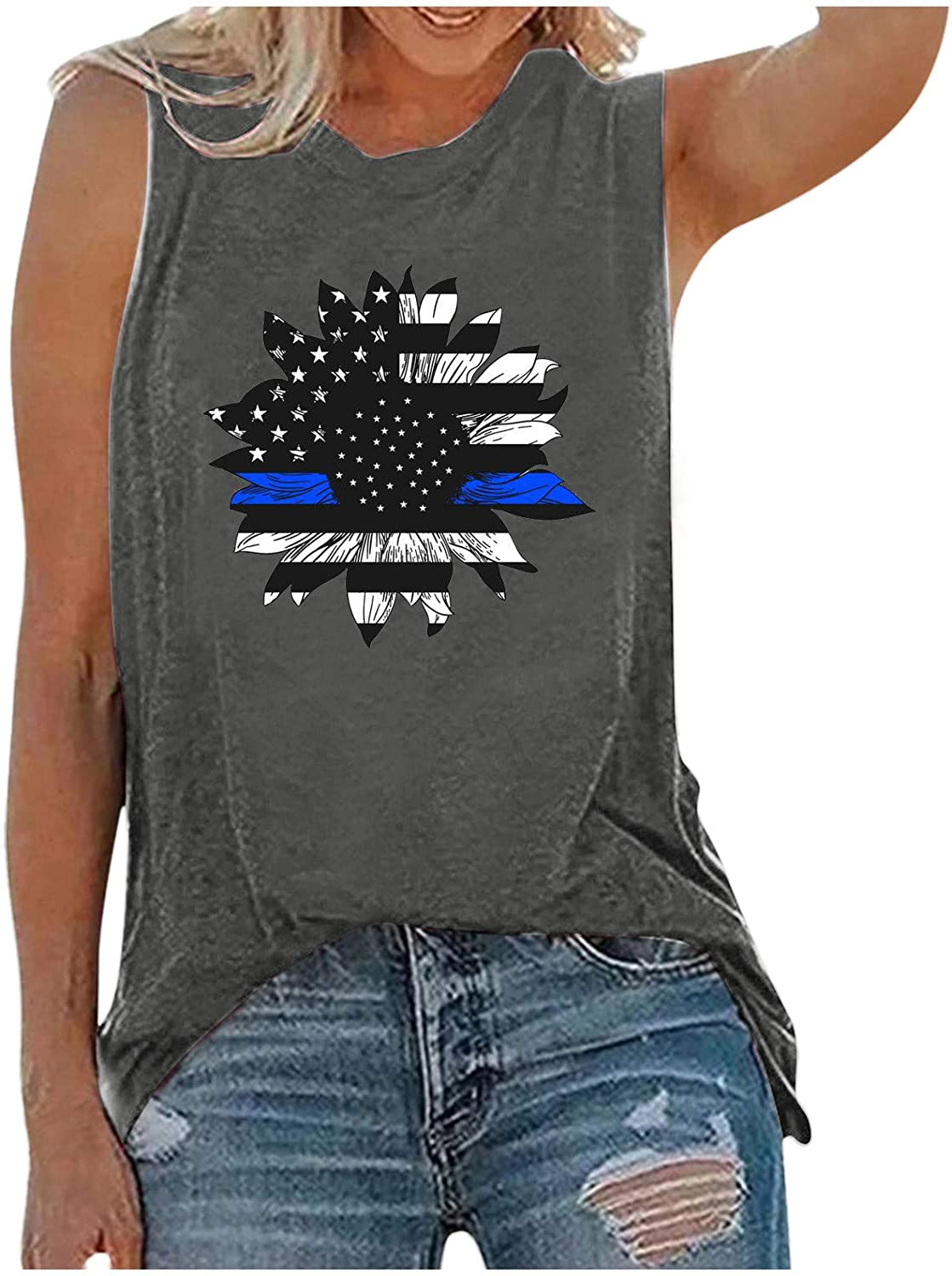 Womens Tops,Womens Tank Tops for Independence Day Women Casual Printing Shirts Short Sleeve Loose Tee Tops Tunic Blouse