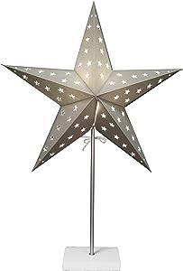 Star - 233-11, Lampada decorativa da terra, a forma di stella, in metallo/carta/legno, 67 x 43 cm, Argento/Bianco (silber/weiß)