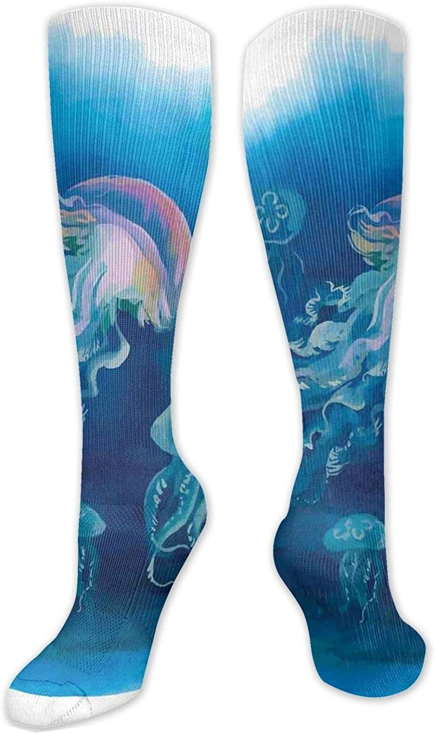 Compression High Socks-Illustration Of Orchids And Curly Retro Patterns Romantic Design Best for Running,Athletic,Hiking,Travel,Flight