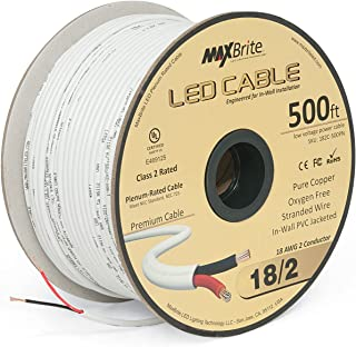 18AWG LED Cable/Speaker Wire 2 Conductor in-Wall Plenum Rated Jacketed, Low Voltage Wiring, UL Class 2 Certified - 500 ft Spool
