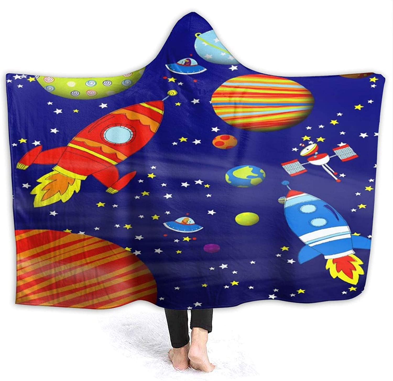 Colorful Space Astronaut Max 80% OFF Hood Blankets Anti-Pilling Fashion Wear Flannel