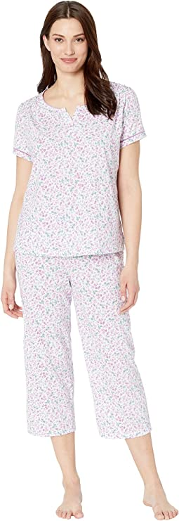 Cloud Nine Short Sleeve Henley Capris PJ