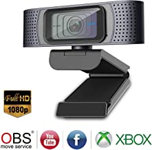 Full HD Webcam 1080P with Privacy Shutter, Spedal Pro Streaming Web Camera with Dual Misc, Autofocus Webcam for Gaming Conferencing, USB Webcam for PC Laptop Desktop Mac Xbox Skype OBS Twitch Xsplit