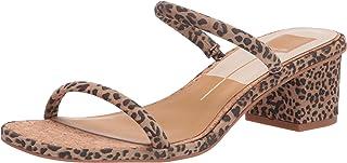 Dolce Vita Women's Riya Slide Sandal, TAN/BLACK DUSTED LEOPARD SUEDE, 8