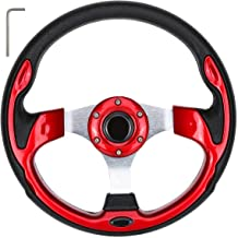 World 9.99 Mall Golf Cart Steering Wheel or Adapter Fits for EZGO Club Car and Yamaha (Red2)