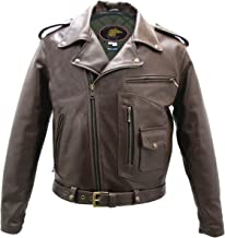product image for Brown D Pocket Horsehide Motorcycle Jacket (38 Long/Tall)