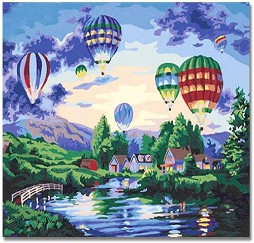 Jjyyh Peintures par Numéros Chateau Et Ballons 60X75Cm Bricolage Peinture à l'huile Linen Toile pour Adultes Enfants Débutants Numéros Peinture par Décoration Murale