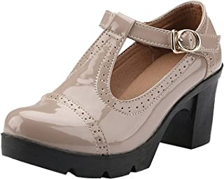 PPXID Women's British Style T-Bar Platform Heeled Oxford Shoes Work Shoes