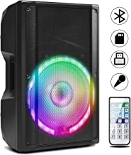 AKUSTIK 15-Inch 2-Way 1200W Powered PA Speaker, LED Light Effects, Portable DJ Loudspeaker with Carry Handles, Remote Control for Easily Operate, Speaker Out, Built-in Bluetooth, USB, SD, FM, RCA, AUX