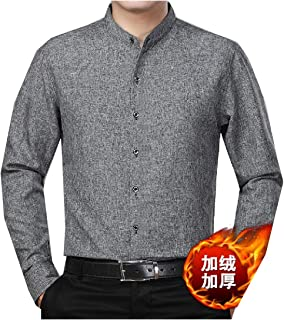 WQ&EnergyMen Mens Solid Long-Sleeve Button Banded Collar Winter Shirt