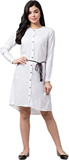 ZUVINO Women's Pure Rayon with Dual Belt Knee Length Shirt Dress