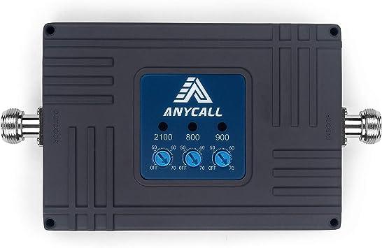 ANYCALL Amplificador Cobertura Movil 2G/3G/4G Tri-Banda Repetidor Señal Movil Mejorar la Red y Llamar 900/2100/2600MHz Soporte ...