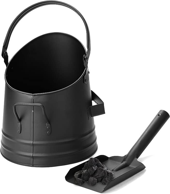 Mind Reader MASH BLK Large Fire Place Ash Bucket Pellet Bucket With Shovel Black