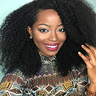 Perpetuum Shiny Brazilian Virgin Human Hair Wigs 4B 4C Afro Kinky Curly Wigs for Black Women Glueless Lace Front Wigs with Baby Hair 130% Density(16'' Lace Front Wig)