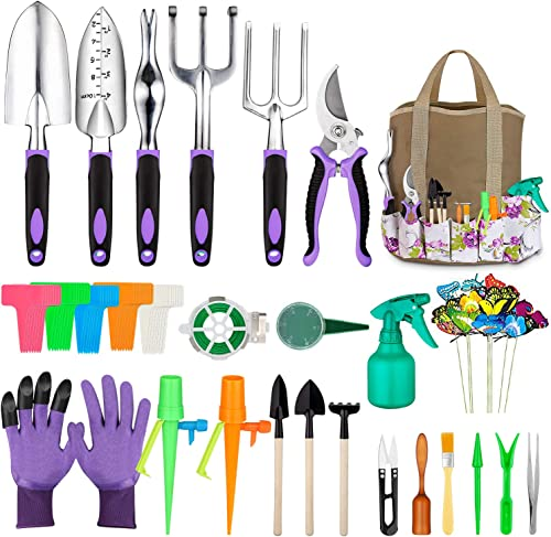 discount Tudoccy Garden Tools Set 83 Piece, Succulent Tools Set Included, Heavy Duty Aluminum Gardening Tools for Gardening, lowest Non-Slip Ergonomic Handle Tools, Durable Storage Tote Bag, Gifts Tools for Men sale Women sale