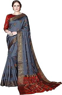 Women's Grey Banarasi Cotton Blend Saree With Unstitched Blouse Piece