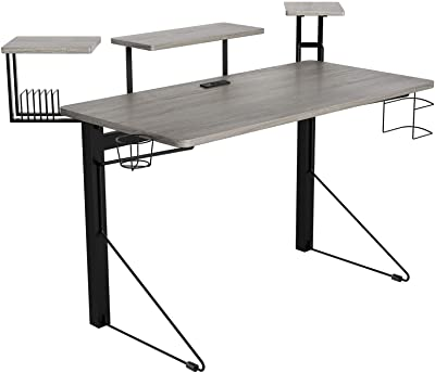 DAR CORE Computer Gaming Desk, Standard, Gray/Black