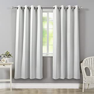 VEEYOO Bedroom Blackout Curtains 84 inch Length Thermal Insulated Solid Grommet Blackout Draperies for Living Room Set of 2 Greyish White Curtain Panels