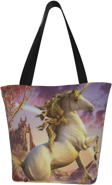 Dream Castle Unicorn White Horse Rainbow Themed Printed Women Canvas Handbag Zipper Shoulder Bag Work Booksbag Tote Purse Leisure Hobo Bag For Shopping