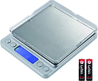 Digital Kitchen Scale,3000g/0.1g Mini Food Scale, Gram Scale with 2 Trays, 6 Units, Back-Lit LCD Display, Stainless Steel, Tare, PCS, Silver(Batteries Included)