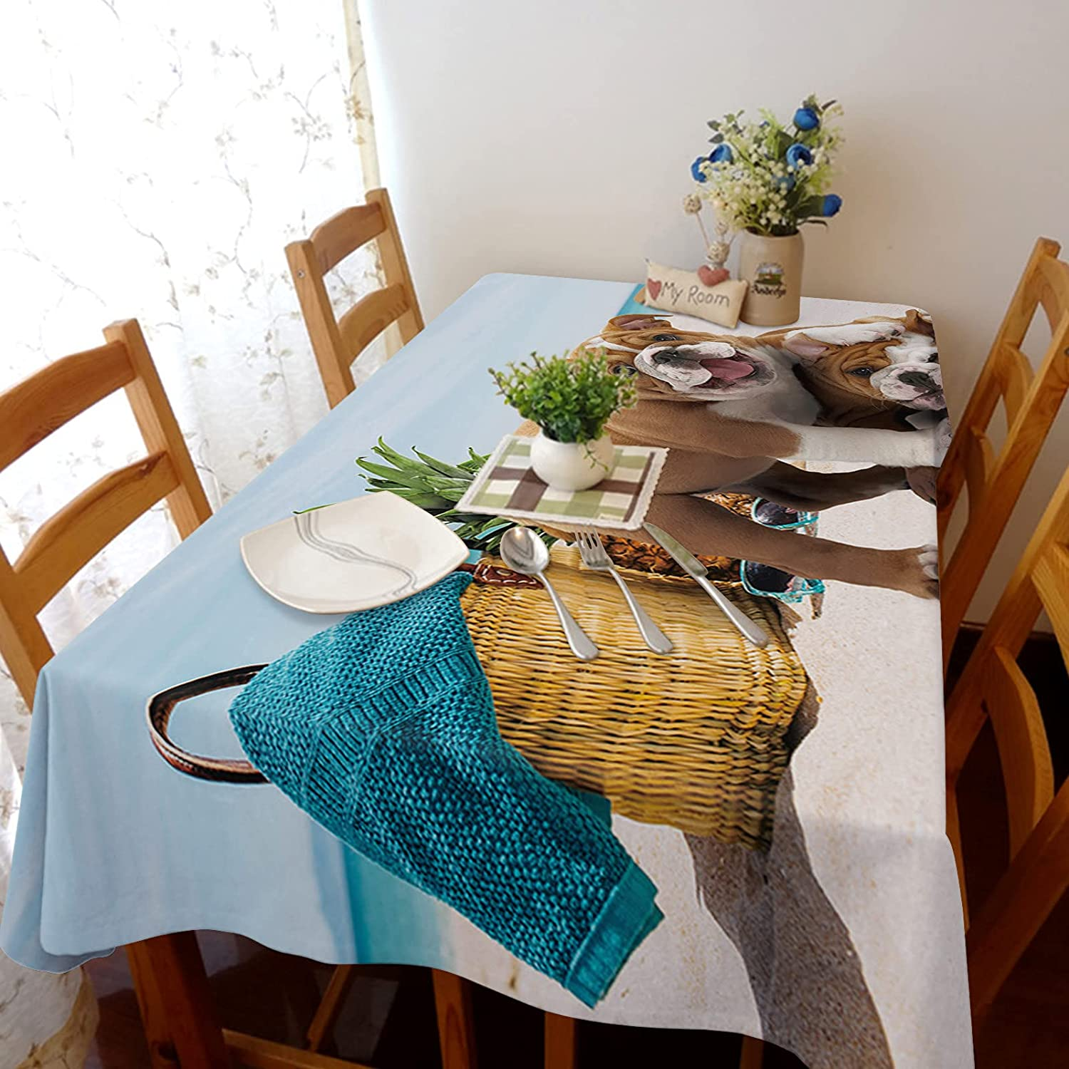 Arts Language Tablecloth for Rectangle Table French Manufacturer OFFicial shop Trust Bulldog Beac