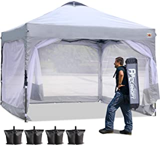 ABCCANOPY 10 x 10 Canopy Tent Compact Outdoor Canopies Instant Shelter Portable Shade with Wheeled Carry Bag and Side Walls, Bonus Extra 4 Weight Bags, 4 Ropes& 4 Stakes