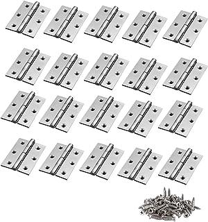 LUCKYBEE ドアバット蝶番 ドアバットヒンジ シングルアクションドアバットヒンジ シルバートーン ステンレス鋼 手作り パーツ 金具 44mmの長さ ネジに付き (20個セット)