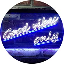 Good Vibes Only Wall Plaque Night Light Dual Color LED Neon Sign White & Blue 600 x 400mm st6s64-i1077-wb