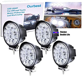 4.5' Round Offroad Led Lights, 4Pcs 42W Led Offroad Pod Lights Bar Roof Lights Bumper Auxiliary Lamp 12V 24V for Truck Pickup Tractor Agricultural Vehicles(White)