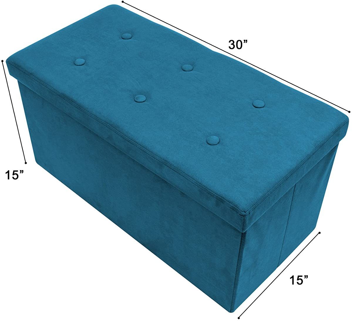 Sorbus Storage Ottoman Bench – Collapsible/Folding Bench Chest with Cover – Perfect Toy and Shoe Chest, Hope Chest, Pouffe Ottoman, Seat, Foot Rest, – Contemporary Faux Suede (Medium-Bench, Teal)