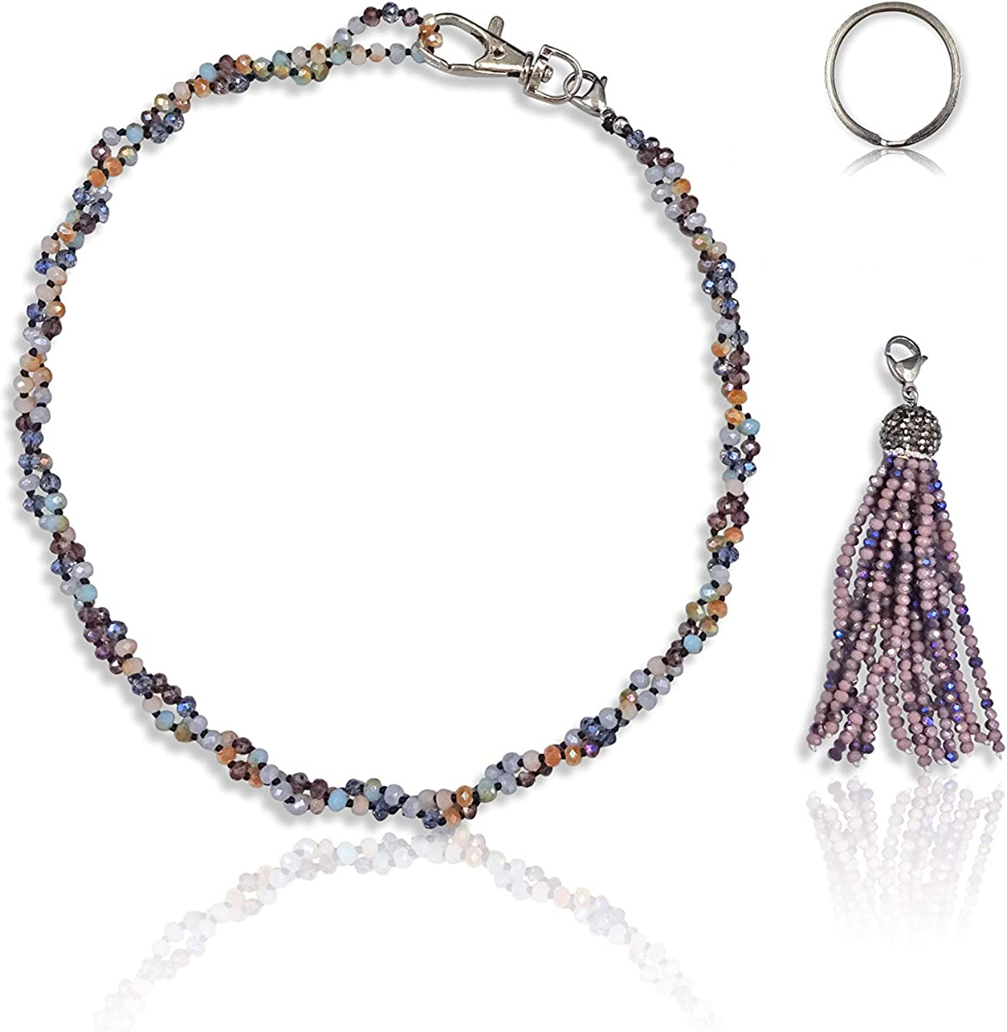 MGR MY GEMS ROCK! Beaded Crystal or Gem Stone Light Weight Non-Breakaway Lanyard Necklace and ID Badge Holder Necklace for Women.