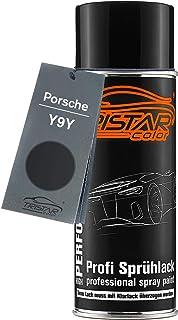 TRISTARcolor Autolack Spraydose für Porsche Y9Y Satinschwarz Metallic/Satin Black Metallic Basislack Sprühdose 400ml