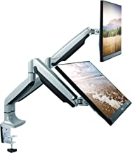 TechOrbits Dual Monitor Mount Stand - SmartSWIVEL - Dual Computer Screen Desk Mount Arms - Full Motion Swivel Articulating Gas Springs - Universal Fit for 13