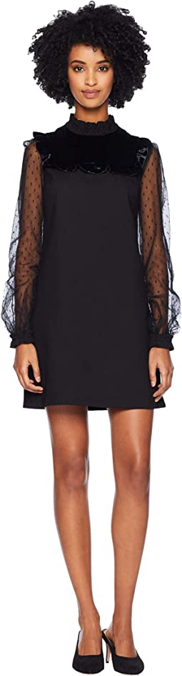 Ponte Jersey Point D'Esprit and Velvet Dress
