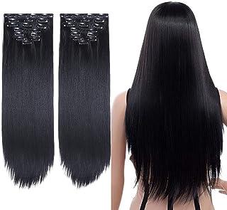 YMHPRIDE 2 stuks lange rechte volledige hoofd clip in hair extensions 8 stuks 17 clips zachte dikke synthetische haarverle...