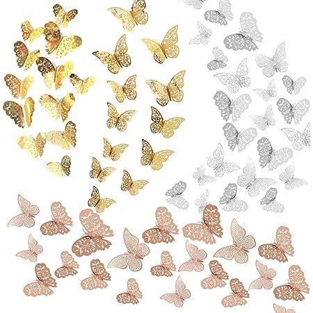 Allazone 72 PCS 3D Papillon Stickers Papillons Decorati Papillon Autocollants Muraux pour Murs Fenêtre de Chambre Bébé, Décor de Fête, Or Rose, Or, Argent