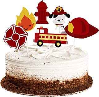 Winrase Pack of 24 Cute Fireman Themed Cupcake Toppers Kids Party Decoration Paper Cake Cupcake Toppers (Fire Truck)