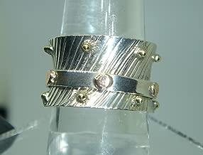 Handmade Textured Sterling Silver, Brass & Copper Spinner Ring 6.75