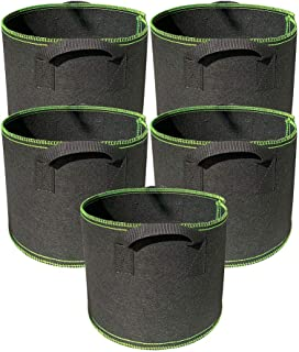 Ayvicco 5-Pack 1 Gallon Grow Bags Heavy Duty Thickened Nonwoven Aeration Fabric Pots with Handles, Indoor Garden Planter B...