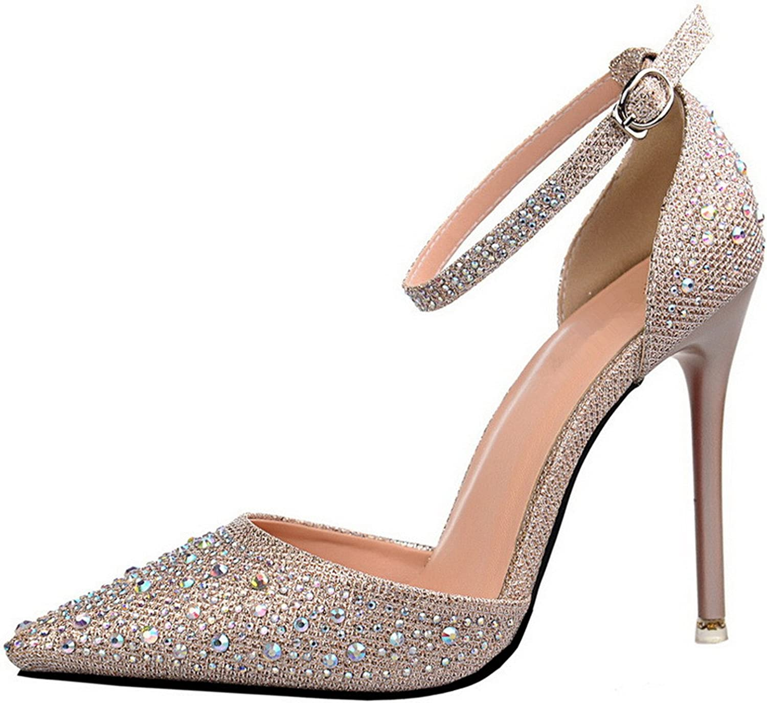 Willie Marlow Luxury Crystal Women Pumps High Heels Sexy Ankle Strap Mary Janes Pointed Toe Wedding shoes