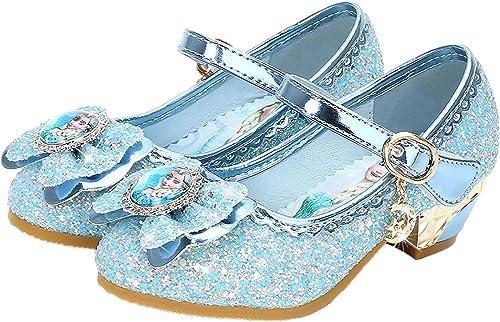YOSICIL Disfraz Princesa Zapatos Frozen Elsa Zapatos de Lentejuelas Antideslizante Niñas Zapatos de Tacón Velcro Zapa...