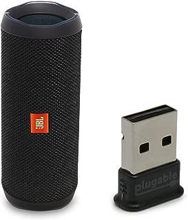 JBL Flip 4 Waterproof Portable Bluetooth Speaker, Black, Bundle with USB 2.0 Bluetooth Adapter (USB-BT4LE)