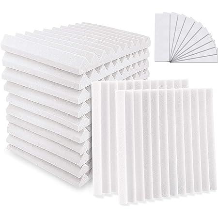 "YeCheng 12 Pack Acoustic Foam 1"" X 12"" X 12"" Soundproof Foam Panels - Studio Foam Wedges- Sound Absorbing Tiles for Recording Studio Ceiling - White"